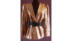 Sz Large Vintage 80s Gold & Pink Animal Print Lame Blazer Jacket Sparkle & Shine $40.00
