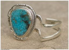 Jimmy Calabaza (Santa Domingo Pueblo), Turquoise Swirl Bracelet, 1 3/4 x 2 3/4 x 2 inches, turquoise and silver. At the Gerald Peters Gallery, Santa Fe, NM.
