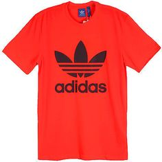 Adidas Originals Trefoil Tee Mens AJ6963 Solar Red Black Logo T-Shirt Size L