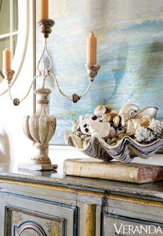 A 19th-century Italian buffet; candelabra, Tara Shaw Antiques.   - Veranda.com