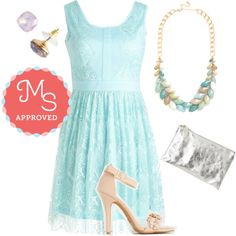 Aquamarine Biologist Dress by modcloth on Polyvore featuring Summer, BridesMaid, outfit and modcloth