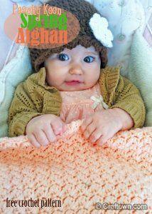Peach Spring Baby Afghan | AllFreeCrochet.com