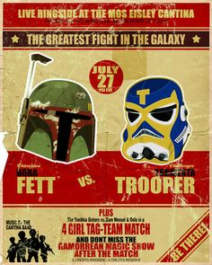 Well done Star Wars poster in a vintage boxing poster style.