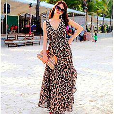 Das mulheres com decote em V Leopard Bohemia tornozelo comprimento Chiffon Dresses - BRL R$ 54,69