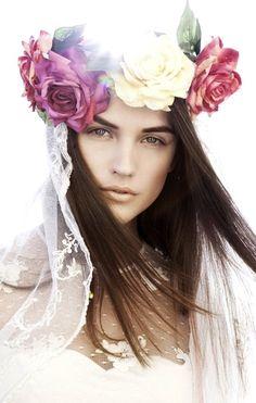 Boho bride's long down bridal hair Toni Kami Wedding Hairstyles ♥ ❷ Wedding hairstyle ideas flower crown corona halo  Dreamy wedding photography