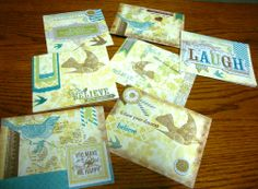 Skylark Scrapbooking Kit work.  I finished the pages and was able to make these cards and still had paper left.                 See Jackiejung.ctmh.com to order.