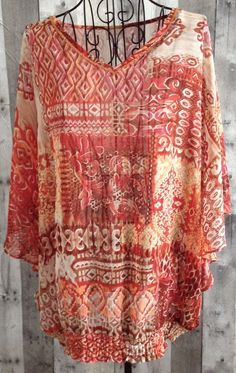 ChicosBeaded Peasant Blouse Top Boho Festival Size 3/XL 16 #Chicos #Top