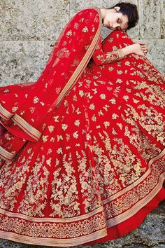 Red Net Three Piece Bridal Lehenga Set