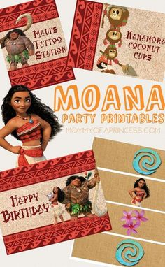 Moana Birthday Party Printables free download with Happy Birthday 8x10 sign, food cards and water bottle labels