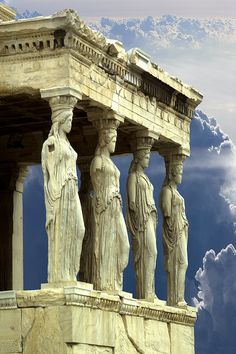 Porch of the Caryatids, Parthenon, Athens, Greece. These statues are fake! 5 of the real ones are inside the Acropolis Museum. The remaining one is held at the British Museum, London. Places Around The World, Oh The Places You'll Go, Places To Travel, Places To Visit, Travel Destinations, Travel Things, Travel Stuff, Wonderful Places, Beautiful Places