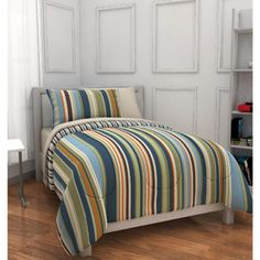 Mainstays Kids Rally Stripe Bed in a Bag Bedding Set (probably this one)