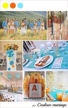 Mariage en bleu, orange et jaune - Couleur mariage