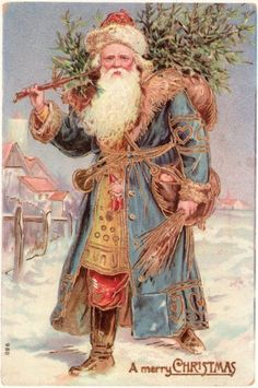 Merry Christmas - Vintage Santa Christmas Postcard