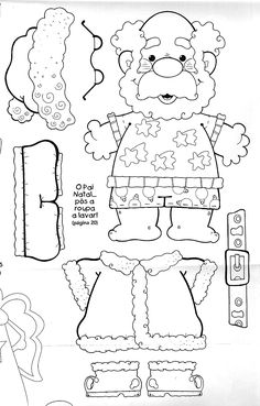 santa paper doll coloring pages