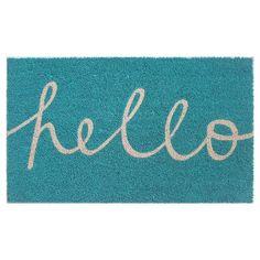 FRONT DOOR, EXTERIOR  RE Blue Hello in Cursive Doormat