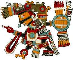 Coloful painting of an Aztec God