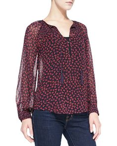Vivette Floral-Print Silk Tassel Blouse by Joie at Neiman Marcus.