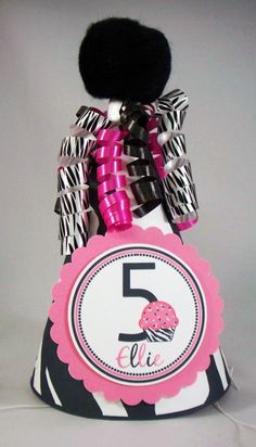 Party Hat - Hot Pink and Zebra Cupcake