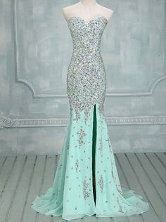 Elegant Mermaid Sweetheart Sweep Train Chiffon Evening/Prom Dress With Beading