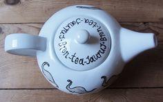 Birds eye view of the Bron-tea-saurus teapot  hand drawn by me: www.etsy.com/shop/gallonsofink