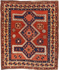 Kazak rug Caucasus late 19th century size approximately 3ft. 2in. x 3ft. 8in.