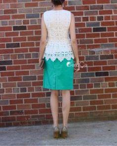 Lauren White Lace Peplum Top - C'est Ça New York