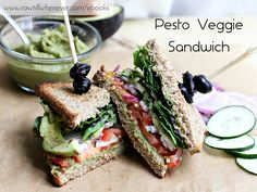 Pesto Veggie Sandwich recipe featured from my best selling vegan recipe book #FullyCooked.