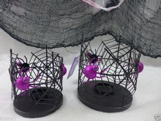 Halloween Candle Holders Set Of 2 Glitter Black With Purple Spiders New With Tag