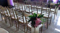 Rent-E-Quip's beautiful Gold Chiavari ballroom Chairs setup for a wedding at Main Street Station in Richmond, VA.