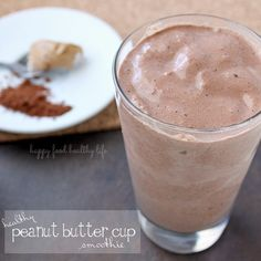 Yummy and filling. Only took 3 batches to fill up my family of nine. Healthy Peanut Butter Cup Smoothie from www.happyfoodhealthylife.com