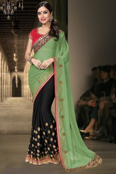Black Georgette Saree with Red Blouse& Green Pallu