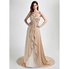 [US$ 154.99] A-Line/Princess Sweetheart Court Train Chiffon Prom Dress With Ruffle Lace Beading (018015784)