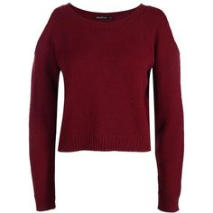 Boohoo Sofie Cold Shoulder Crop Jumper | Boohoo (£13) ❤ liked on Polyvore featuring tops, sweaters, red cropped sweater, red crew neck sweater, crochet crop top, crochet tops and crochet sweater