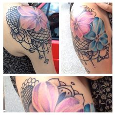 Orchids and lace tattoo by Houston Patton