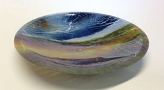 Scottish landscape - fused glass bowl with Bullseye powders by Claire Hall. clairehallglass.co.uk