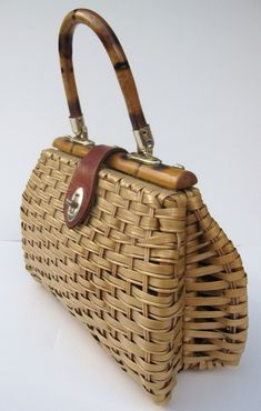 Vintage Wicker Straw Purse 1950s 1960s by mycrochetgarden on Etsy, $22.00
