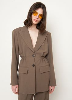 Peak Lapel, Single Breasted Long Blazer w/Partial Elastic Waist 2 Front Flap Pockets. Shoulder Padded (non-removable). Classy Outfits, Cool Outfits, Fashion Outfits, Womens Fashion, Fashion Details, Unique Fashion, Fashion Design, Suits For Women, Women Wear