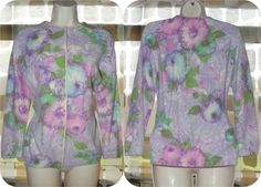 Vintage 50s Lavender Floral Screen Printed by IntrigueU4Ever