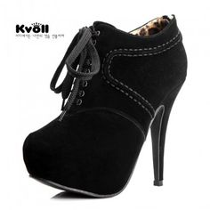 Leather velvet black all-match exquisite sewing thread lacing platform high heel ankle boots
