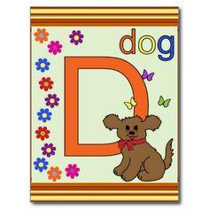Dog Letter D Postcards  #Alphabet #Dog #Kids #Card