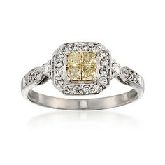 C. 2000 Vintage .90 ct. t.w. Fancy Yellow and White Diamond Ring in 18kt White Gold. Size 9.5