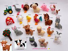 ANIMALES de granja se sentía imanes - precio por 1 artículo - hacer tu propio juego - gallina, oveja, vaca, Toro, caballo, burro, cabra, pavo, gallo, perro, gato, cerdo, Ram, Chick