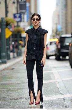 front-slit pants + button-down blouse | @andwhatelse