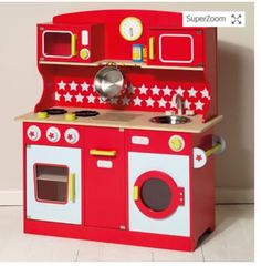 Red Play Kitchen Stove Zulilyfinds Wooden Toys Furniture Pinterest And