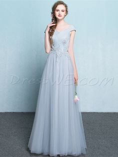 Buy Pretty A Line Cap Sleeve Applique Lace Up Floor Length Party Evening Dress  Online, Dresswe.Com offer high quality fashion,Price: USD$122.69