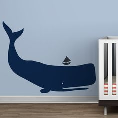 Littlelion Studio Baby Zoo Whale Wall Decal - Navy Blue / Charcoal