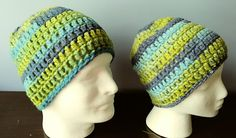 Crochet Beanie Turquoise Blue and Lime adult