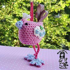 Crochet pattern bird hanger / pendant / key chain door VendulkaM