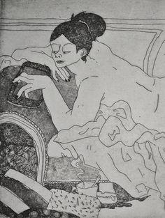 GRAVURE / EAU-FORTE / Collection BigNana / Pause Canapé détail 2    https://www.etsy.com/fr/shop/CFTurcas