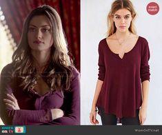 Hayley's burgundy long sleeved top on The Originals.  Outfit Details: http://wornontv.net/47666/ #TheOriginals